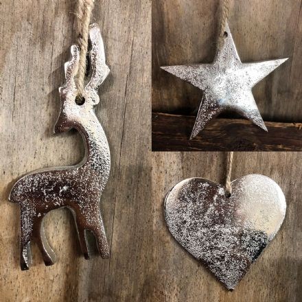 Aluminium Silver Christmas Tree Decorations Reindeer | Star | Heart